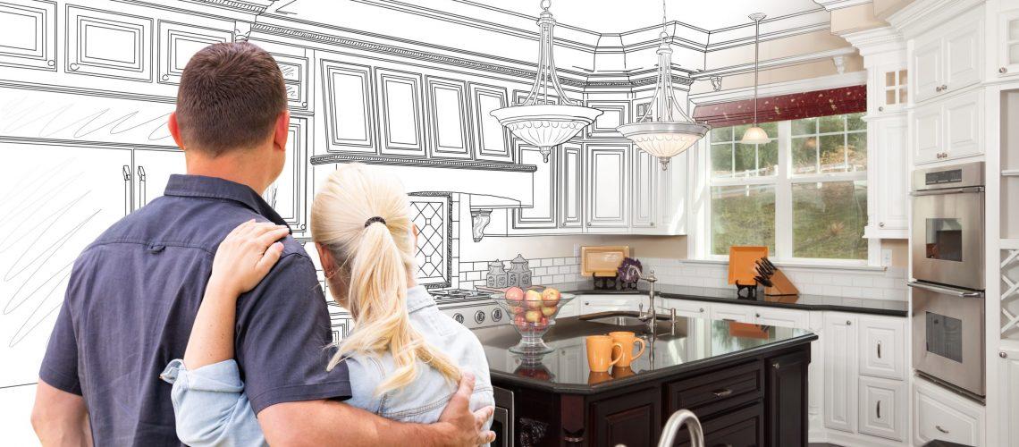 Couple Facing Custom Kitchen Drawing Gradating To Photo.